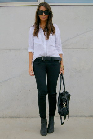 black H&M boots - white Pull and Bear shirt