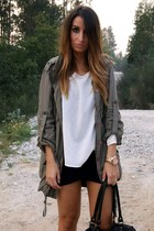 army green Zara coat - black H&M dress - ivory Zara shirt