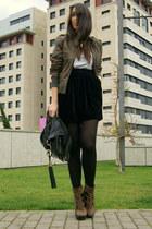 dark brown Aldo boots - brown leather Zara jacket - black Zara skirt - silver H&