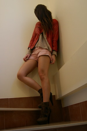 dark brown Aldo boots - ruby red leather Zara jacket - light pink Zara shorts