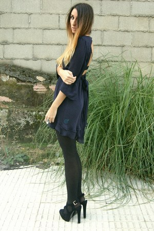 navy Zara dress - black Office shoes