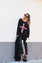 black floral cross High Heels Suicide sweater