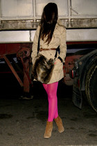 camel trench Stra coat - hot pink Primark tights - black faux fur Zara bag