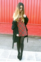 ruby red DIY dress - black Office shoes - black Zara coat
