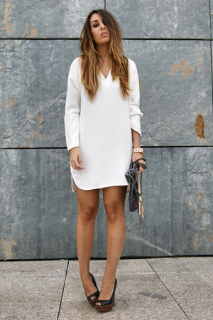 white Zara dress - black Zara wedges