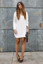 white Zara dress - black Zara wedges