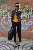 black Zara shoes - black leather Zara jacket - black leather Zara bag - orange Z