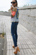 blue Sheinside shirt - brown Jeffrey Campbell shoes