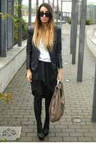 black Zara jacket - black Nelly boots - black Vero Moda dress