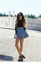 blue ivy supply skirt - charcoal gray fever platforms UNIF shoes