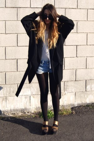black Zara coat - gold Nellycom shoes