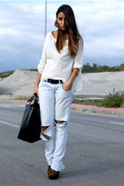 black leather Zara bag - burnt orange tetra asos shoes - white Zarar shirt