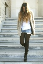 black Spartoo boots - camel New Yorker coat