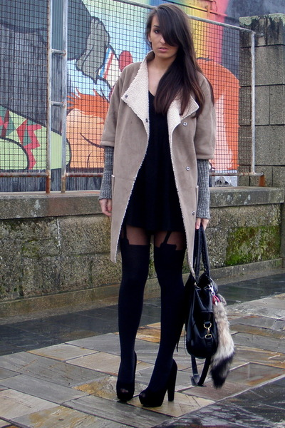 camel Zara coat - black asos shoes - black Zara dress