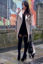 camel Zara coat - black asos shoes - black Zara dress