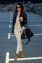 beige Zara pants - beige Zara sweater - black Zara jacket - beige Zara boots