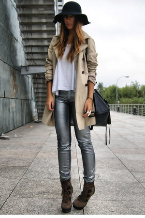 camel trench Zara coat - dark brown Aldo boots - silver silver Zara pants
