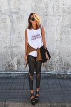 black romwe leggings - white High Heels Suicide top