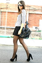 black asos shoes - navy striped Zara shirt - black pleated Zara skirt