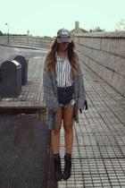 black romwe shirt - navy rollers Oneteaspoon shorts