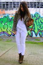 dark brown Aldo boots - brown leopard Zara coat - ivory Bershka pants
