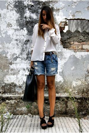 black Office shoes - white Zara shirt - black leather Zara bag