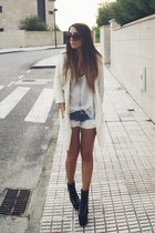 black hellbound UNIF boots - white Zara coat - blue dye DIY shorts