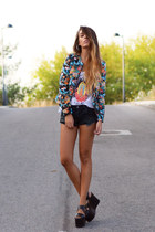 blue Choies jacket - black One Teaspoon shorts - white High Heels Suicide top