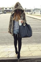 mustard Bershka coat - black Fox House shoes - black Zara bag