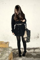 black Zara boots - black Zara dress - black fringed Zara bag - black wool Bershk