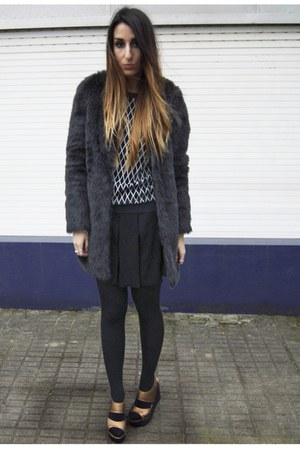 black Zara coat - black Zara skirt