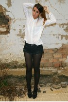 black Office shoes - white Zara shirt - black One Teaspoon shorts