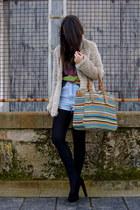 black asos shoes - eggshell faux fur NewYorker coat - chartreuse Zara bag