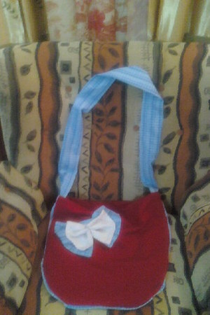 red m bag - sky blue bag