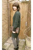 green COS dress - black Topshop boots - gray Marks n Sparks leggings