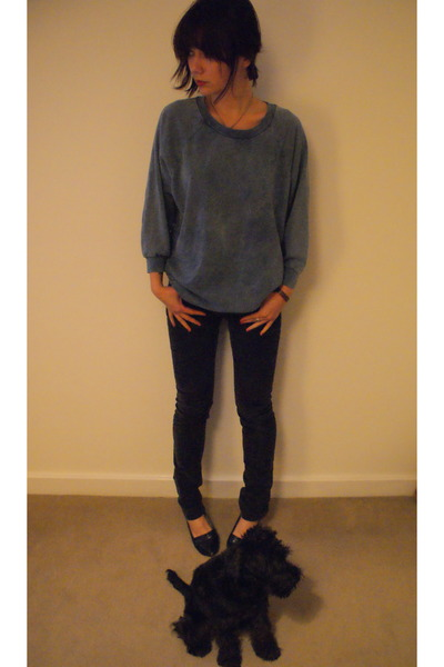 blue H&M sweater - gray American Apparel jeans