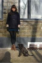 brown etsy vintage shoes - blue APC skirt - blue Duffle Coat coat