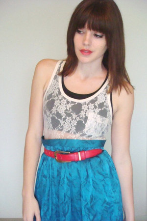 turquoise blue vintage skirt - cream Urban Outfitters top
