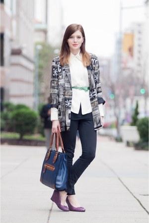 dark gray vintage blazer - cream vintage blouse - deep purple seychelles wedges
