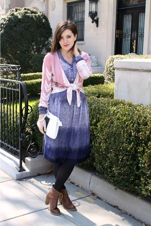 blue vintage dress - white vintage bag - light pink Urban Outfitters cardigan