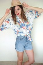 floral print thrifted vintage blouse - feather fedora thrifted vintage hat