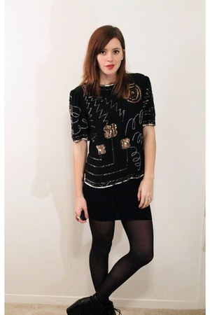 sequined vintage blouse - black lace up booties Dolce Vita boots