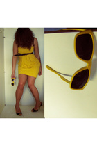 H&M dress - belt - Zipper sunglasses - REPLAY shoes