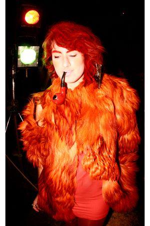 orange coat - red H&M dress