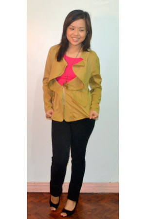 mustard The Ramp blazer - hot pink cotton top - black Mango pants