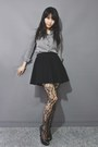 Checkered-shirt-lela-love-tights-skater-skirt-open-toed-heels