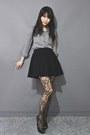 Checkered-shirt-lela-love-tights-skater-skirt-open-toed-heels