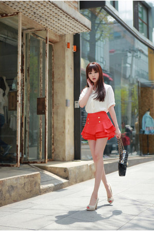 red pleated skirt - white blouse