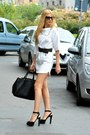Zara-dress-leather-prada-bag-prada-sunglasses-leather-mango-belt