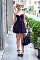 black leather Prada bag - purple lace Guess dress